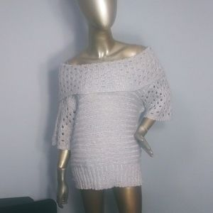 Roz & Ali sparkly wide turtleneck sweater